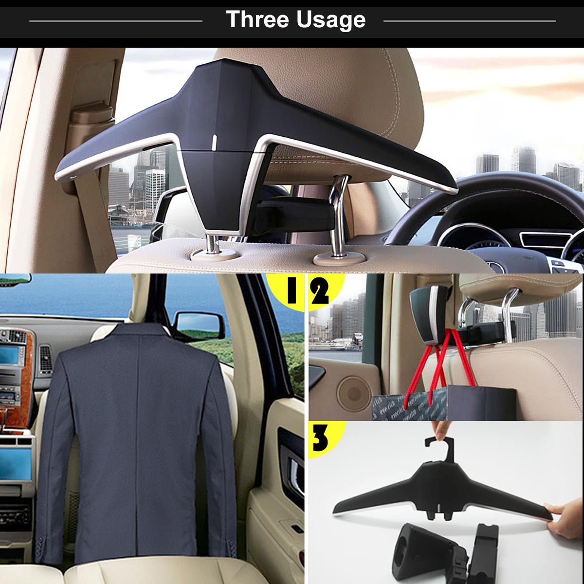 car vehicle seat mount head rest hanger coat jacket shirt suit clothes holder uk ebay. Black Bedroom Furniture Sets. Home Design Ideas